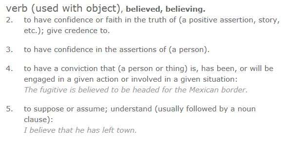 Dictionary.com definition of believe